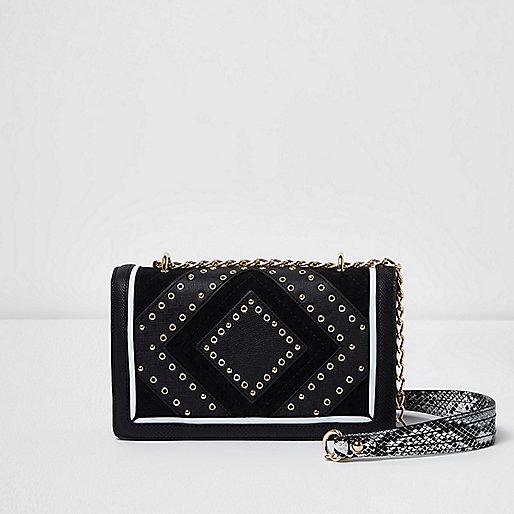 Mini sac à bandoulière noir avec clous et œillets