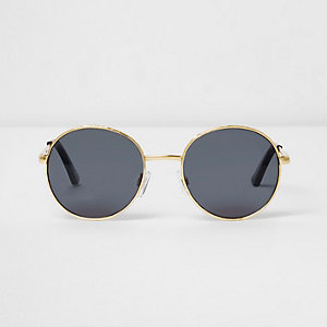 Gold tone etched smoke lens sunglasses