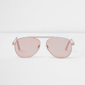 Rose gold tone brow bar pink lens sunglasses