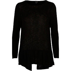 Black long sleeved peplum top