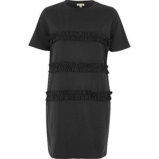 Dark grey frill oversized T-shirt