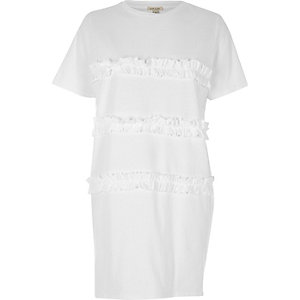 White frill oversized T-shirt
