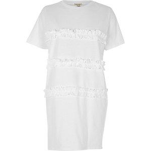 T-shirt oversize blanc à volants