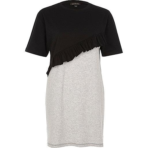 T-shirt oversize avec effet colour block noir à volant