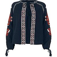 Navy embroidered tassel jacket