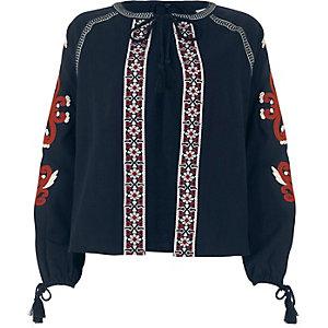 Marineblauw geborduurd jasje met kwastjes