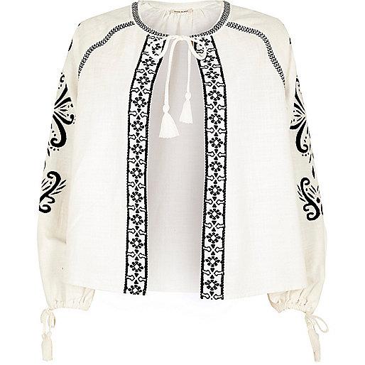 White contrast print tie sleeve cape