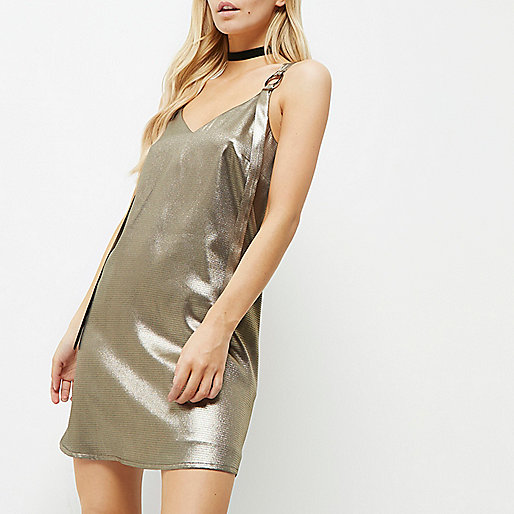 Petite metallic khaki ring strap slip dress