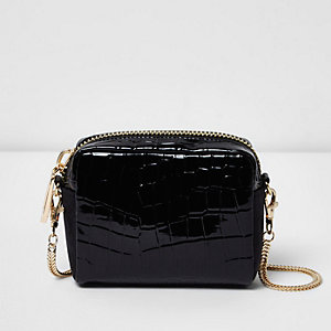 Black patent croc effect crossbody bag