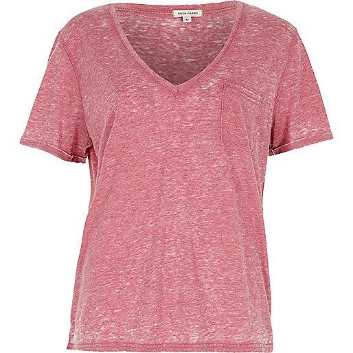 Red V-neck burnout T-shirt