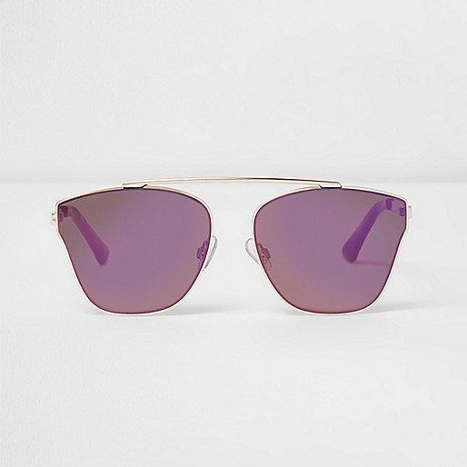 Gold tone purple lens sunglasses