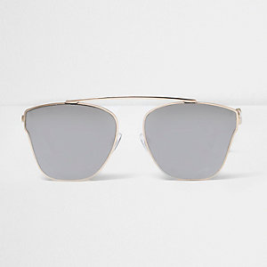 Gold tone smoke lens sunglasses