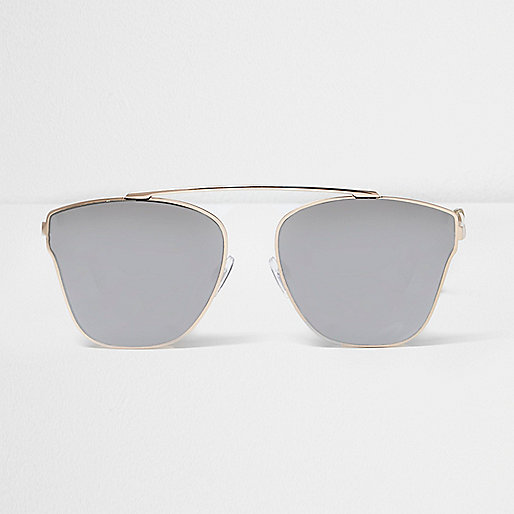 Gold tone smoke lens sunglasses