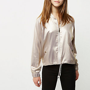 Petite light purple metallic bomber jacket