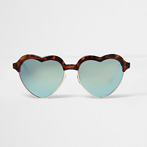 Bruine zonnebril met schildpaddenmotief en hartvormige spiegelglazen