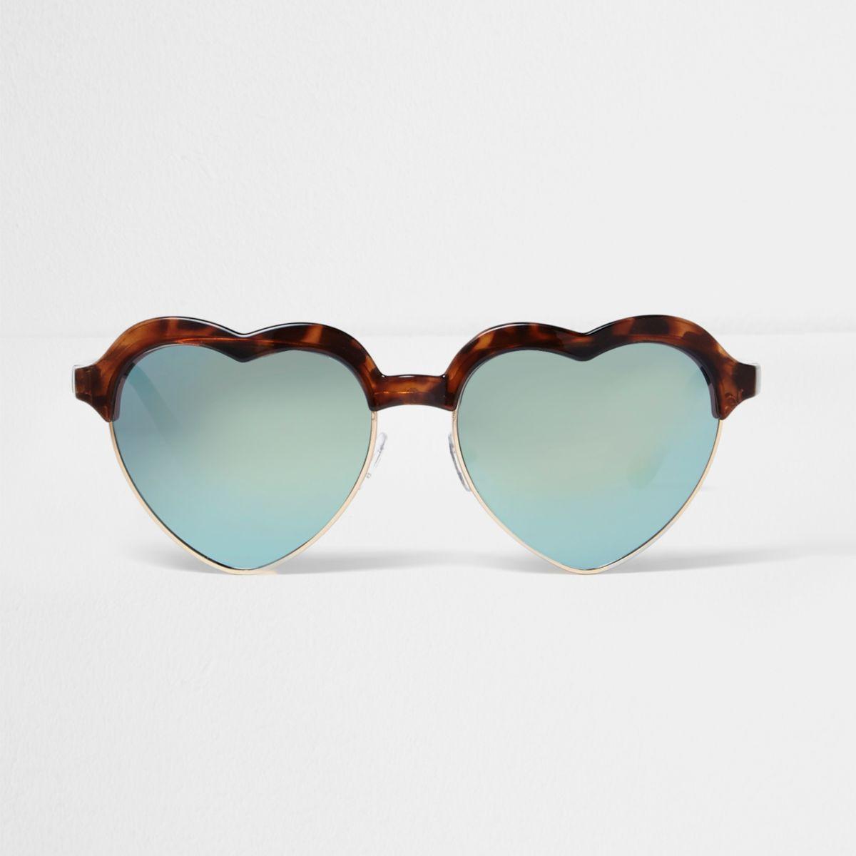 Brown tortoiseshell mirror heart sunglasses