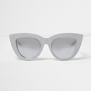 Silver glitter oversized cat eye sunglasses