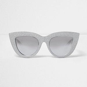 Zilverkleurige oversized cat-eye-zonnebril met glitters