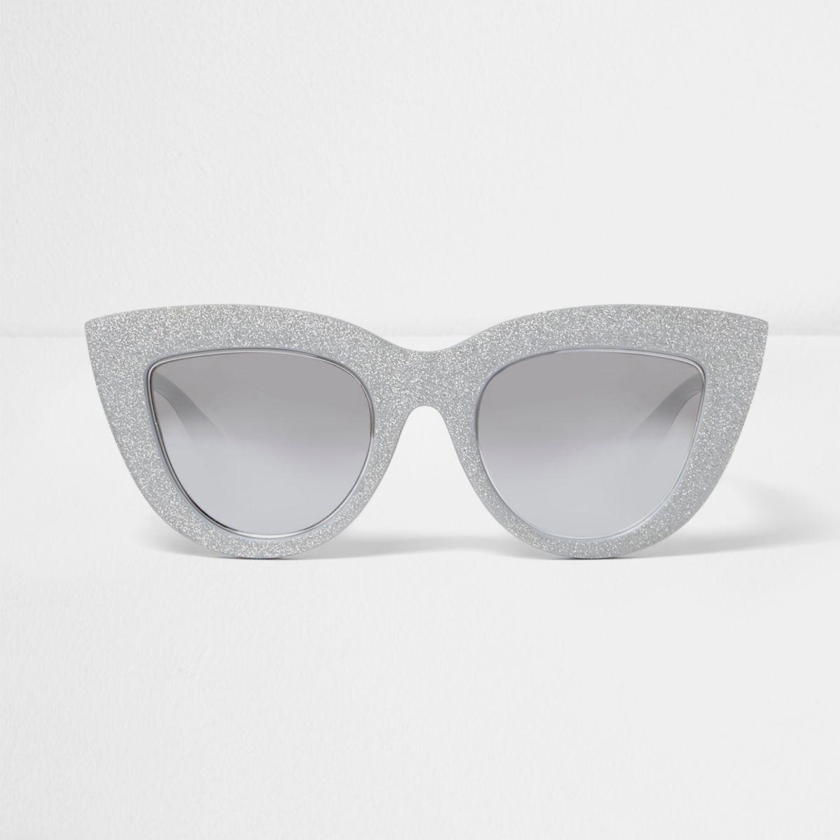 Silver glitter oversized cat eye sunglasses
