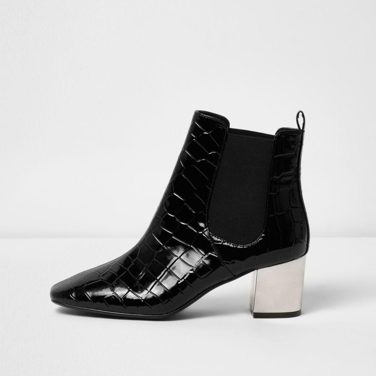Black crocodile effect chelsea boots