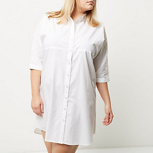 Robe chemise Plus oversize blanche