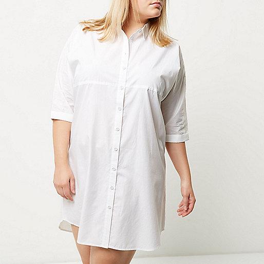 Plus white oversized shirt dress