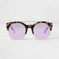 Beige, verspiegelte Schildpatt-Sonnenbrille