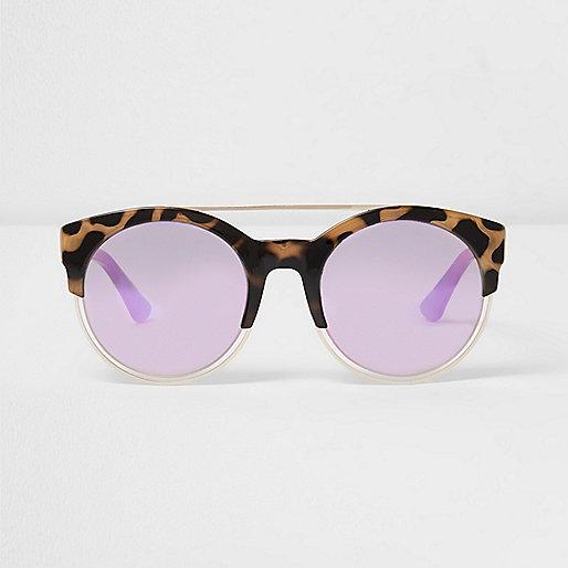 Beige tortoiseshell pink mirror sunglasses