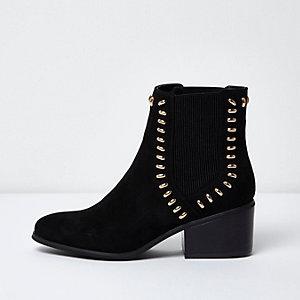 Black faux suede stud detail chelsea boots