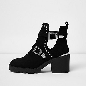 Black stud buckle cut out ankle boots