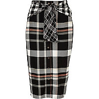 Black check print tie waist button skirt