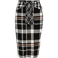 Zwarte geruite rok met knopen en strikceintuur