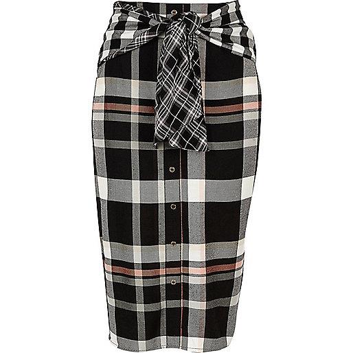 Black check print tie waist button skirt