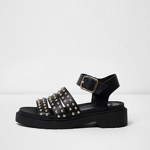 Black stud multi strap chunky sandals