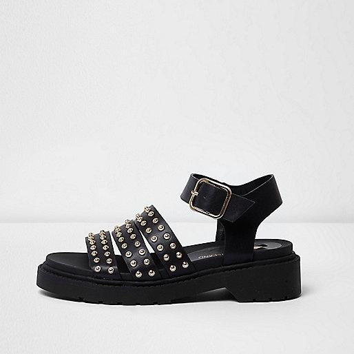 Black stud multi strap chunky sandals