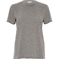 Grey strap neck holey T-shirt