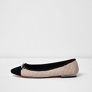Pink quilted ballet flats