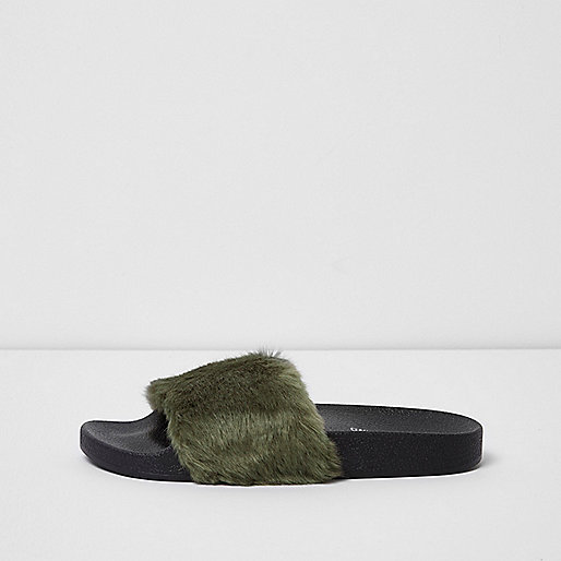 Khaki green fluffy sliders