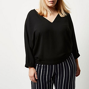 Plus black tie back V-neck top