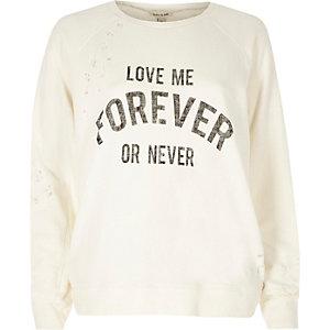 Cream distressed print sweatshirt