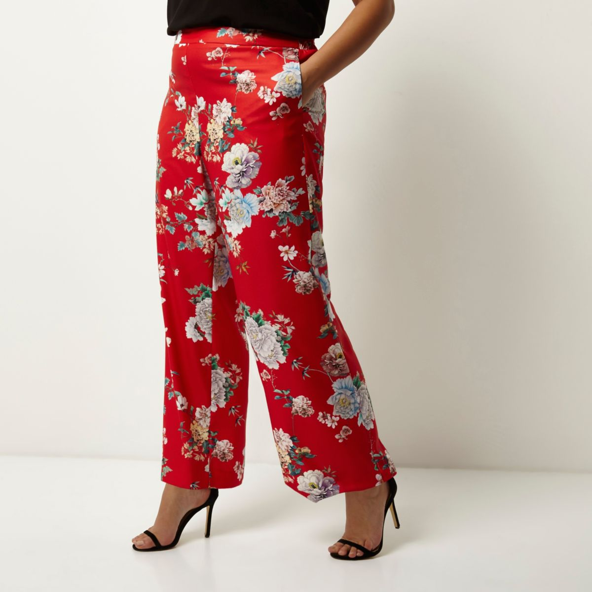 Plus red floral print wide leg pants