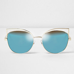 Goldene Sonnenbrille mit blauen Gläsern