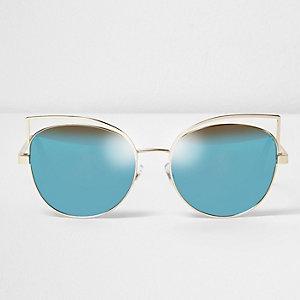 Lunettes de soleil à monture métallique dorée forme œil de chat et verres bleus
