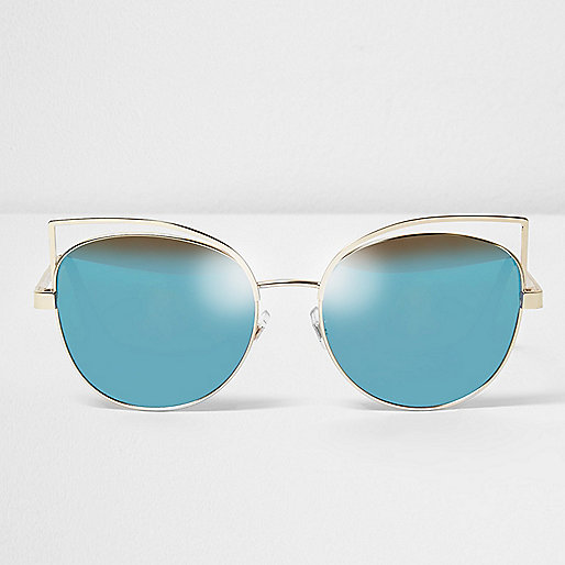Gold wire cat eye blue lens sunglasses