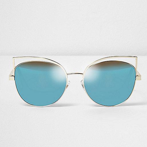 Gold wire cat eye blue lens sunglasses