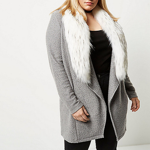 Plus grey faux fur collar cardigan jacket