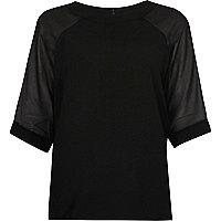 Black chiffon sleeve top