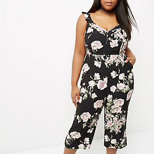 Plus black floral back tie culotte jumpsuit