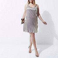 Plus light purple metallic ring slip dress
