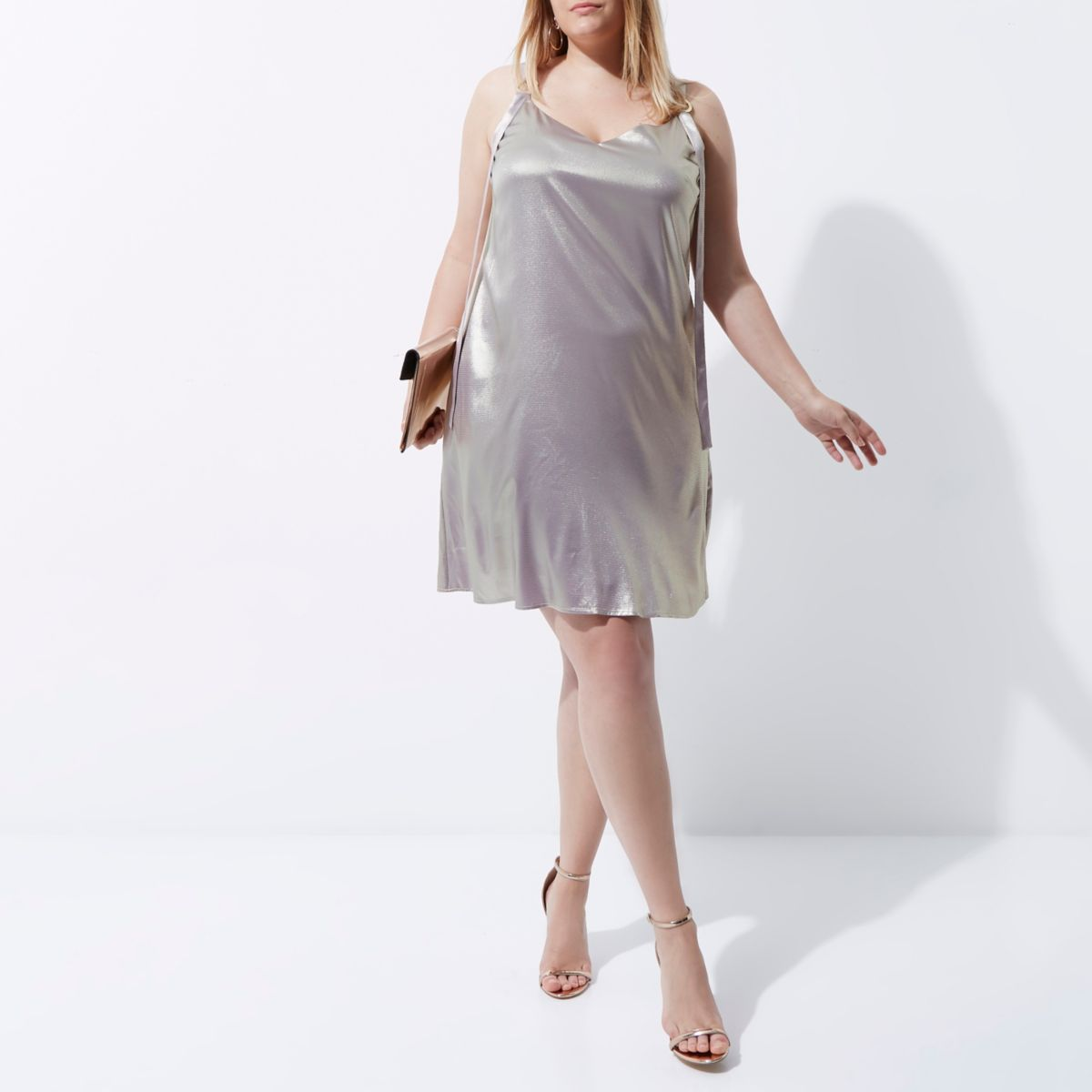 Plus light purple metallic ring slip dress